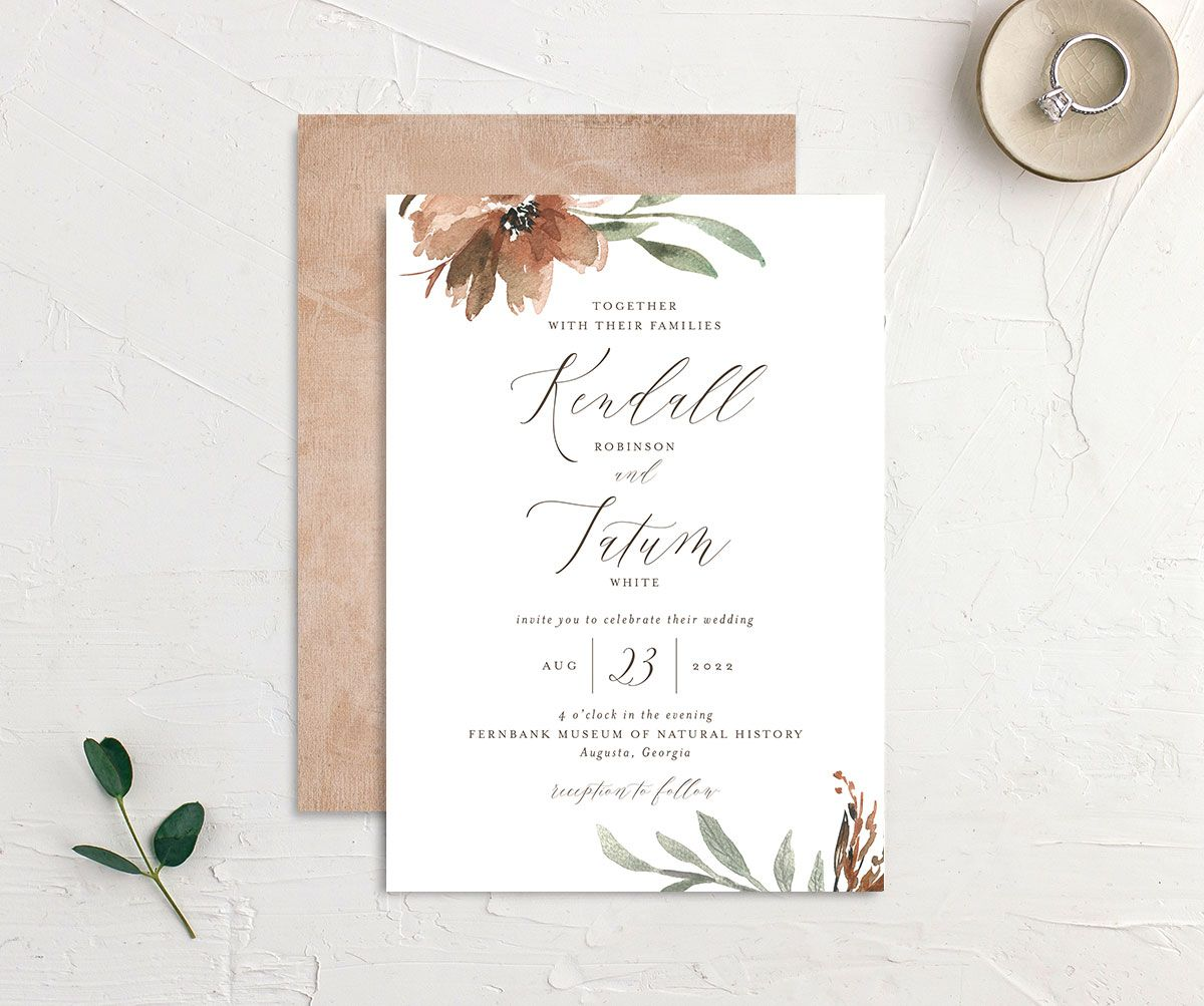 Muted Floral Wedding Invitation front and back copper