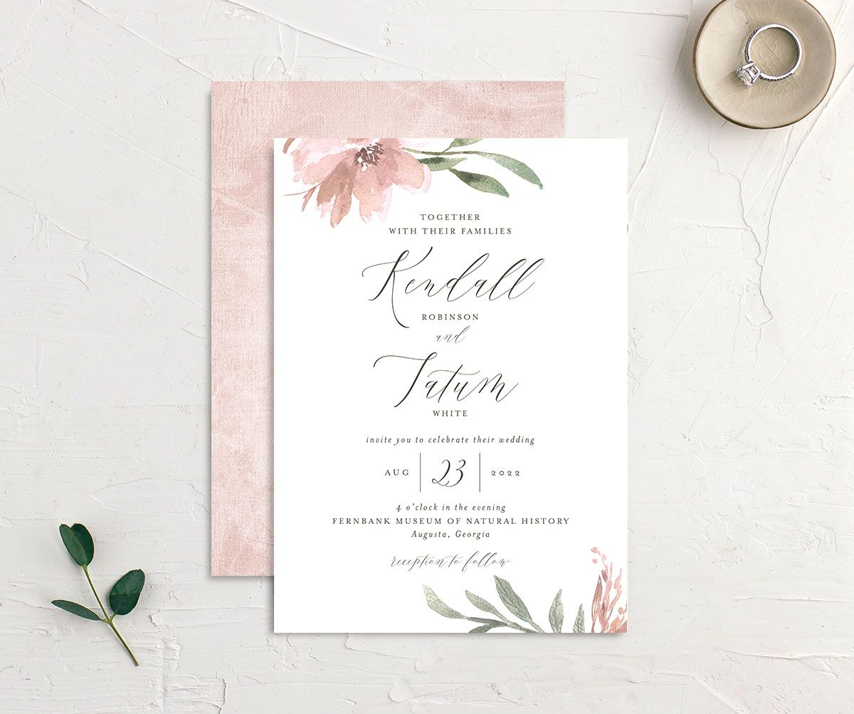 Muted Floral Wedding Invitation front and back pink