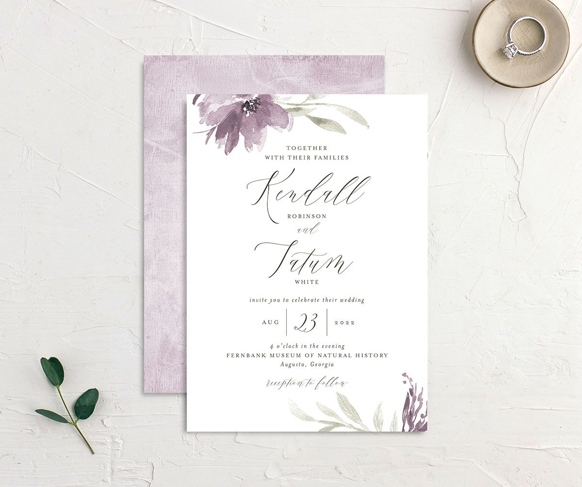 Muted Floral Wedding Invitation front and back purple