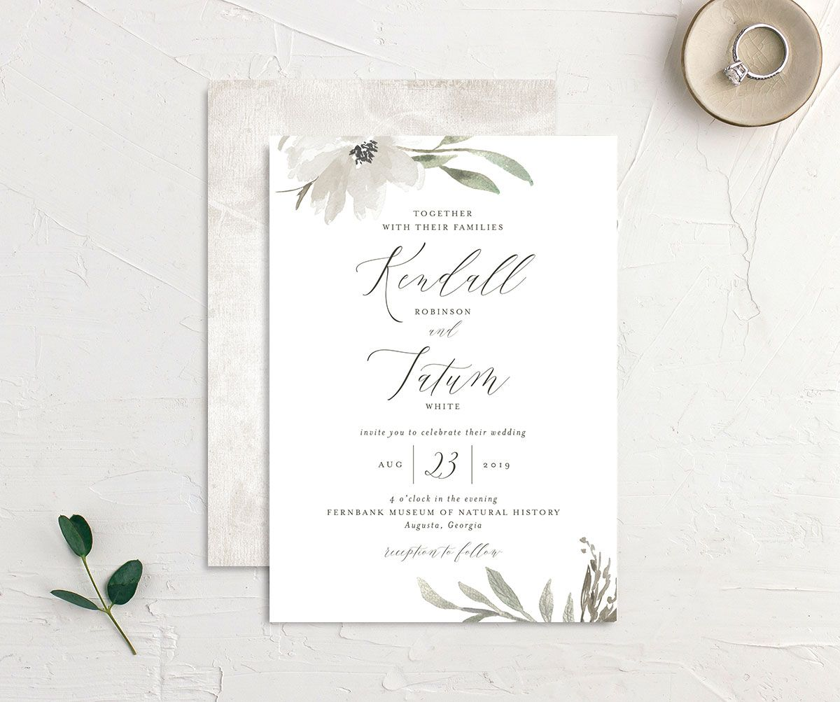 Muted Floral Wedding Invitation front and back white