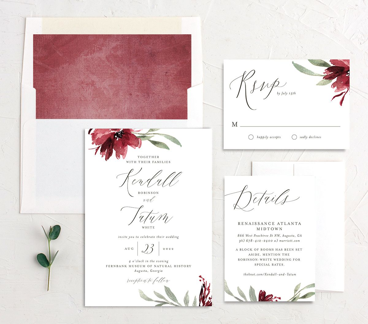 Muted Floral Wedding Suite berry