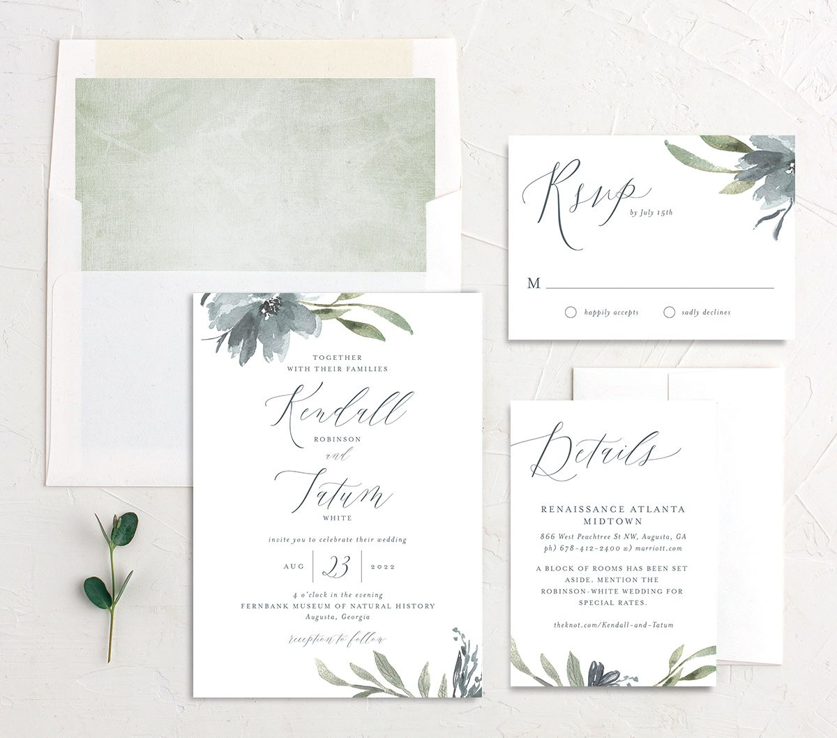 Muted Floral Wedding Suite blue