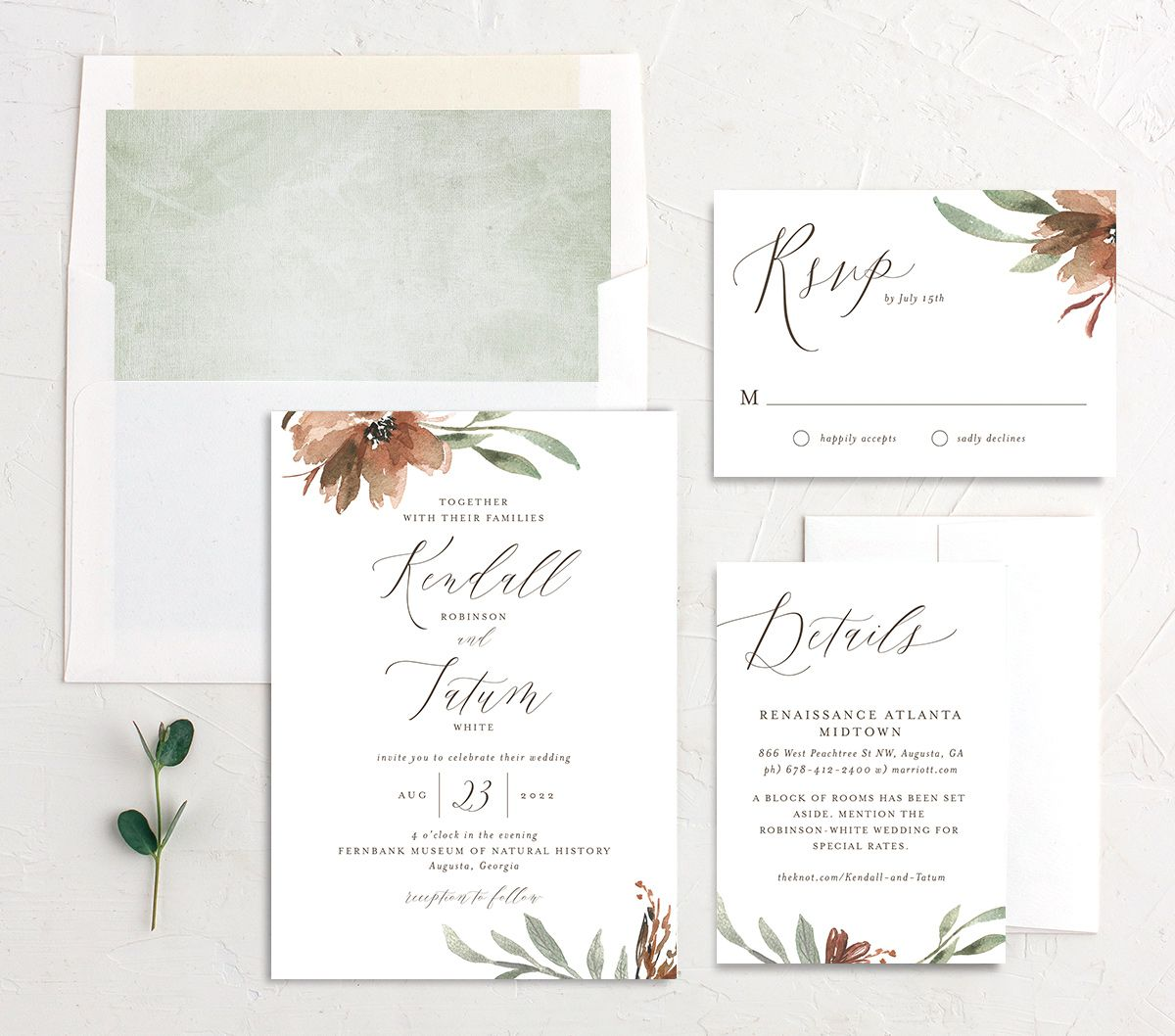 Muted Floral Wedding Suite copper