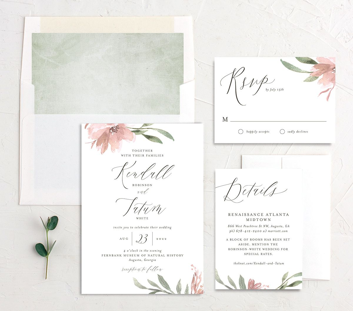 Muted Floral Wedding Suite pink