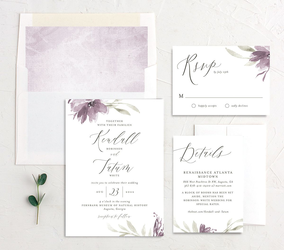 Muted Floral Wedding Suite purple