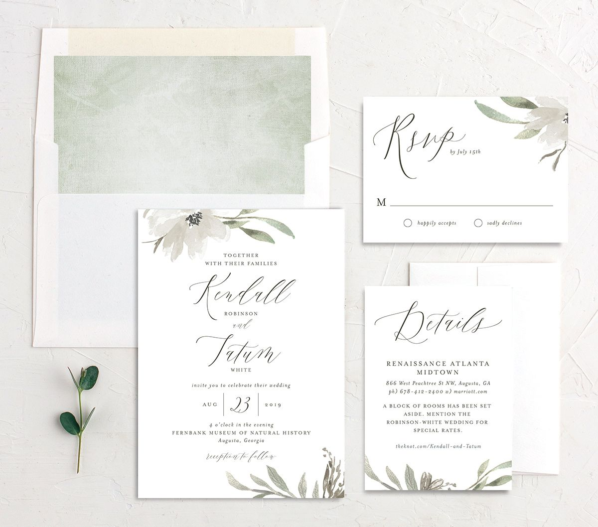 Muted Floral Wedding Suite white