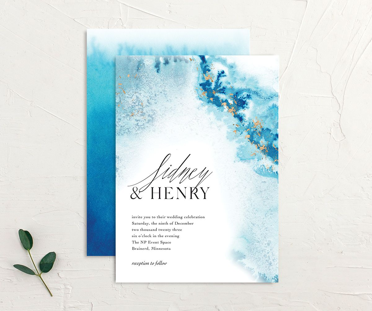 Painted Ethereal Wedding Invitation front and back blue