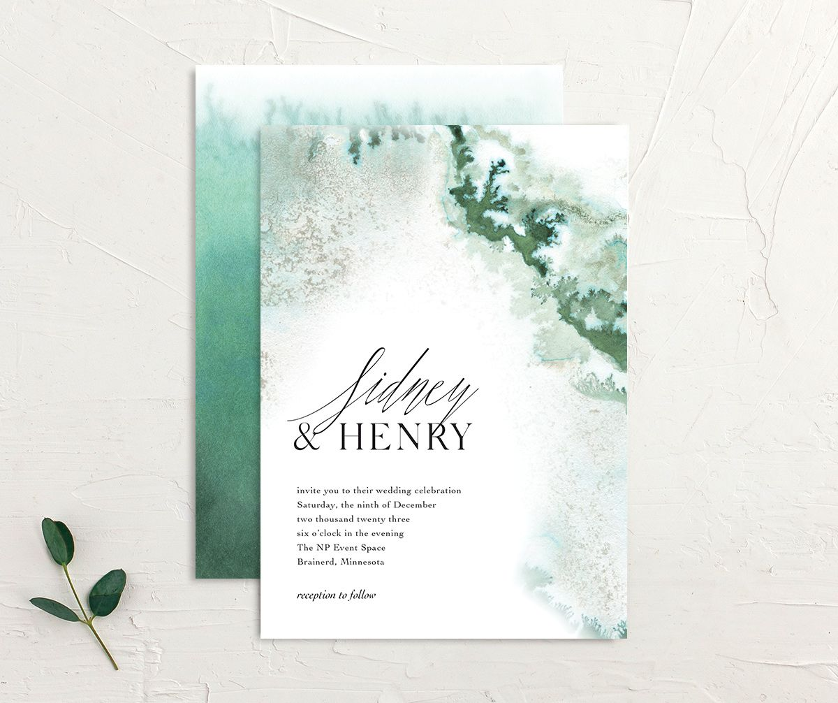 Painted Ethereal Wedding Invitation front and back green