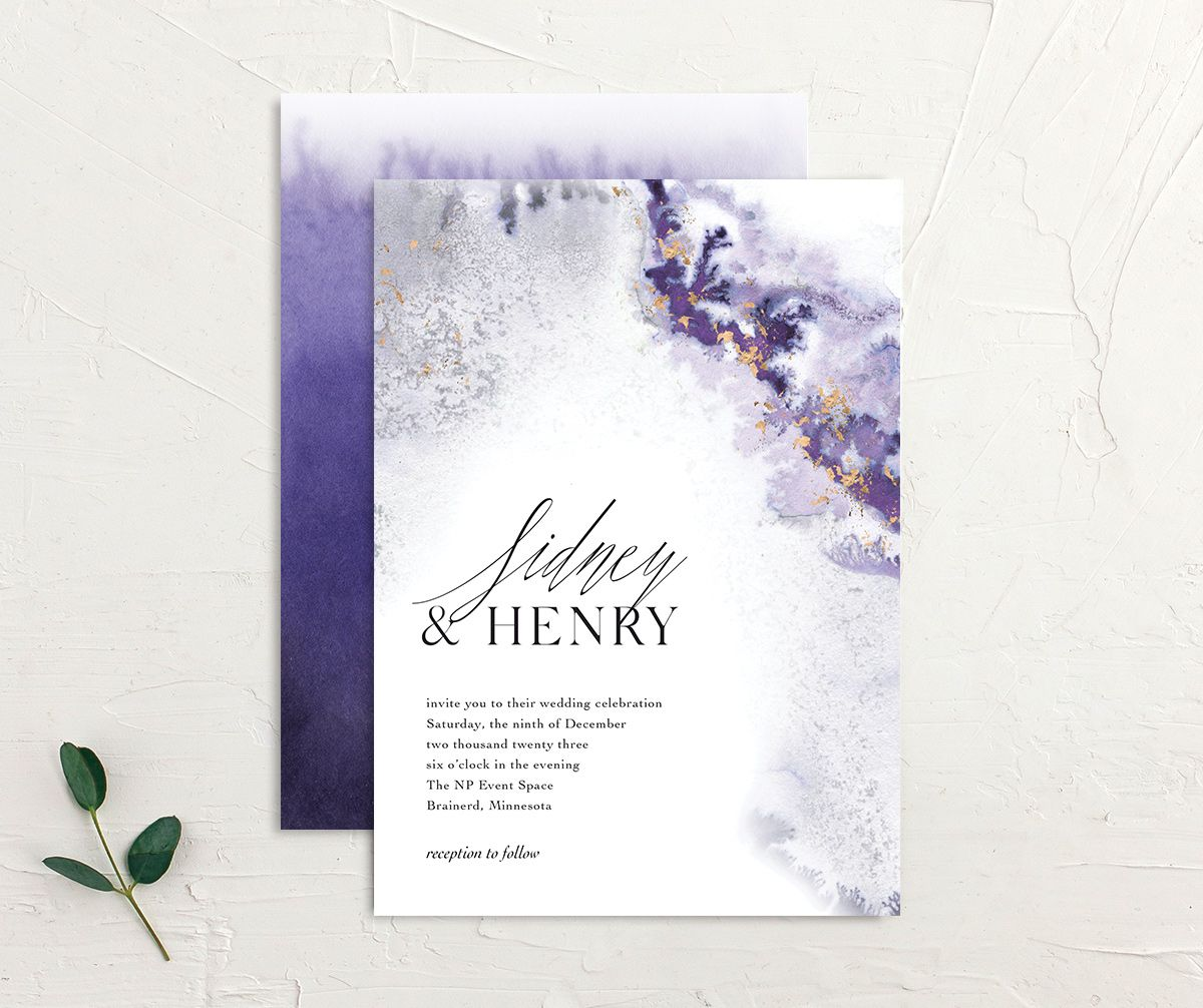 Painted Ethereal Wedding Invitation front and back purple