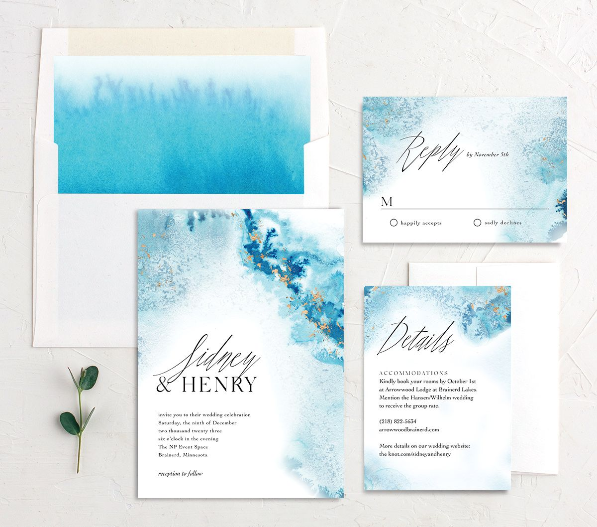 Painted Ethereal Wedding Suite blue