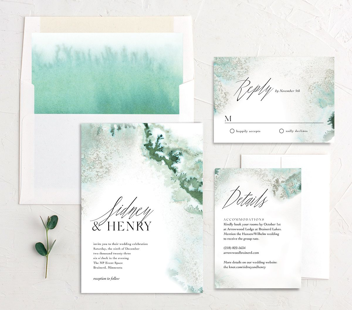 Painted Ethereal Wedding Suite green