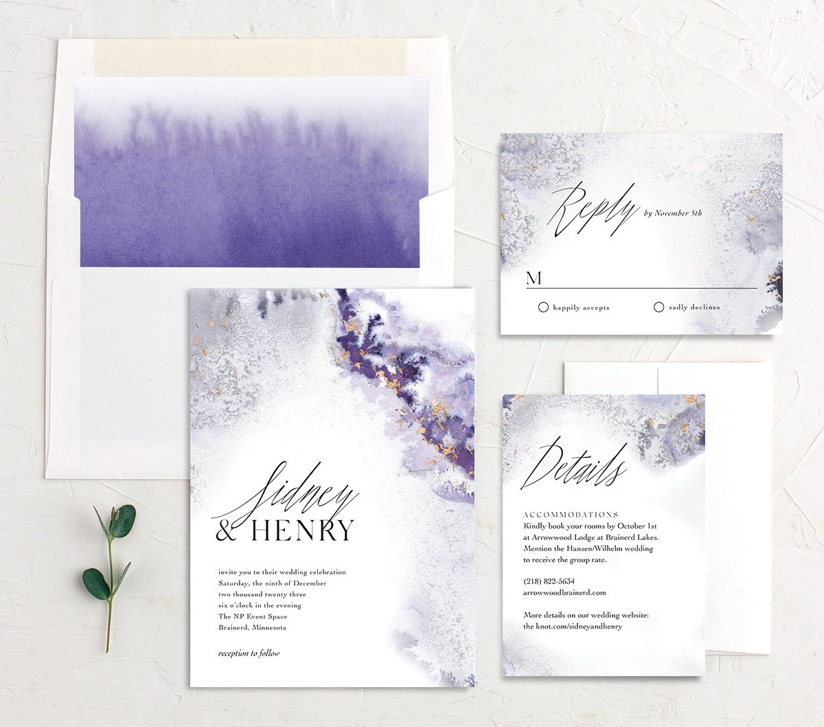 Painted Ethereal Wedding Suite purple