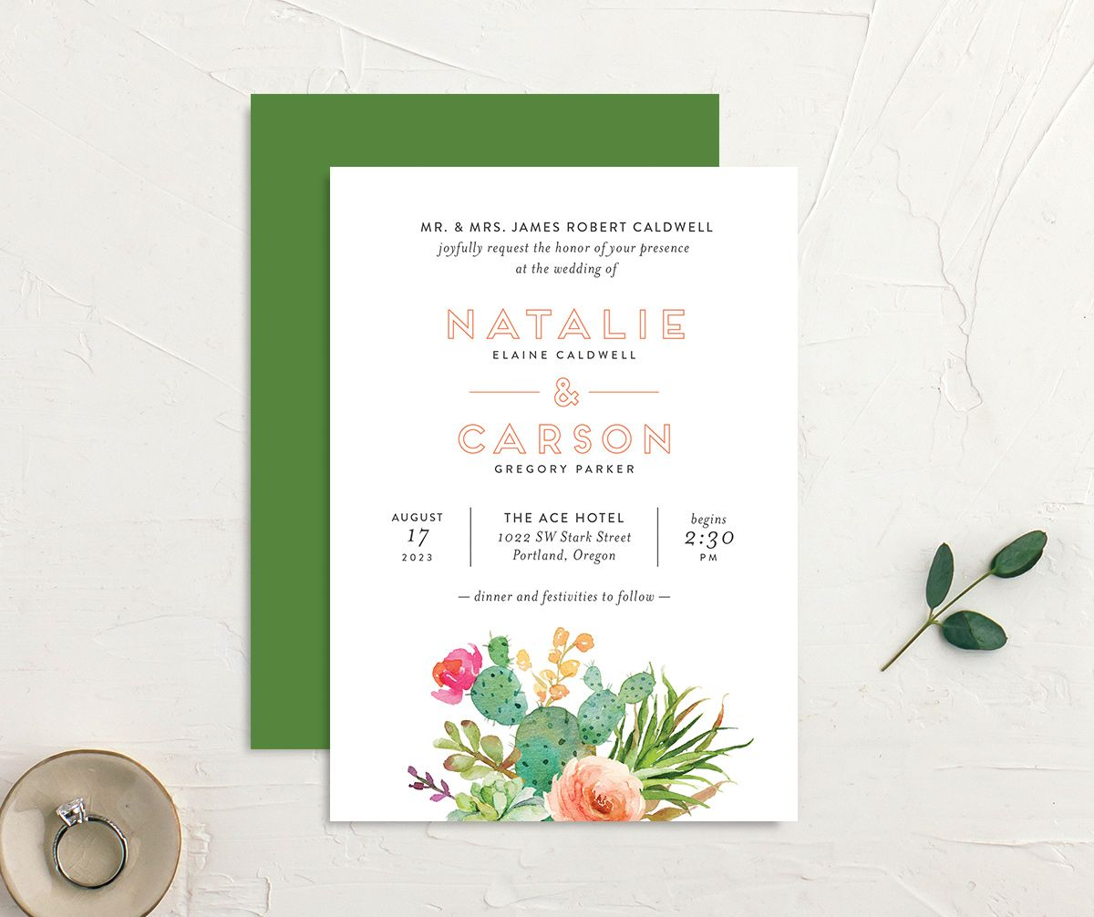 Watercolor Cactus wedding invitation front and back