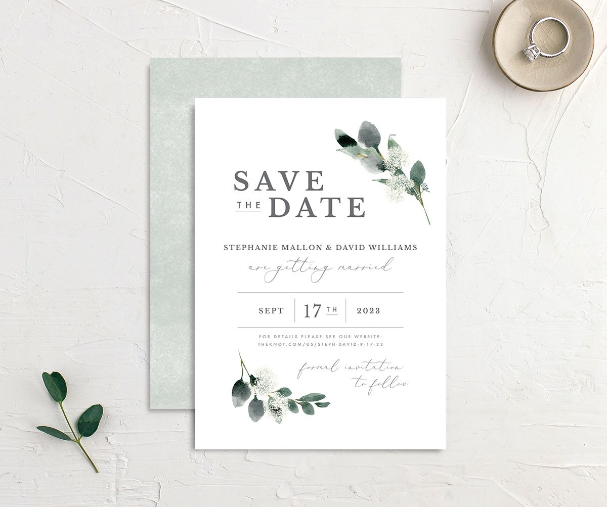 Elegant Greenery save the date front and back