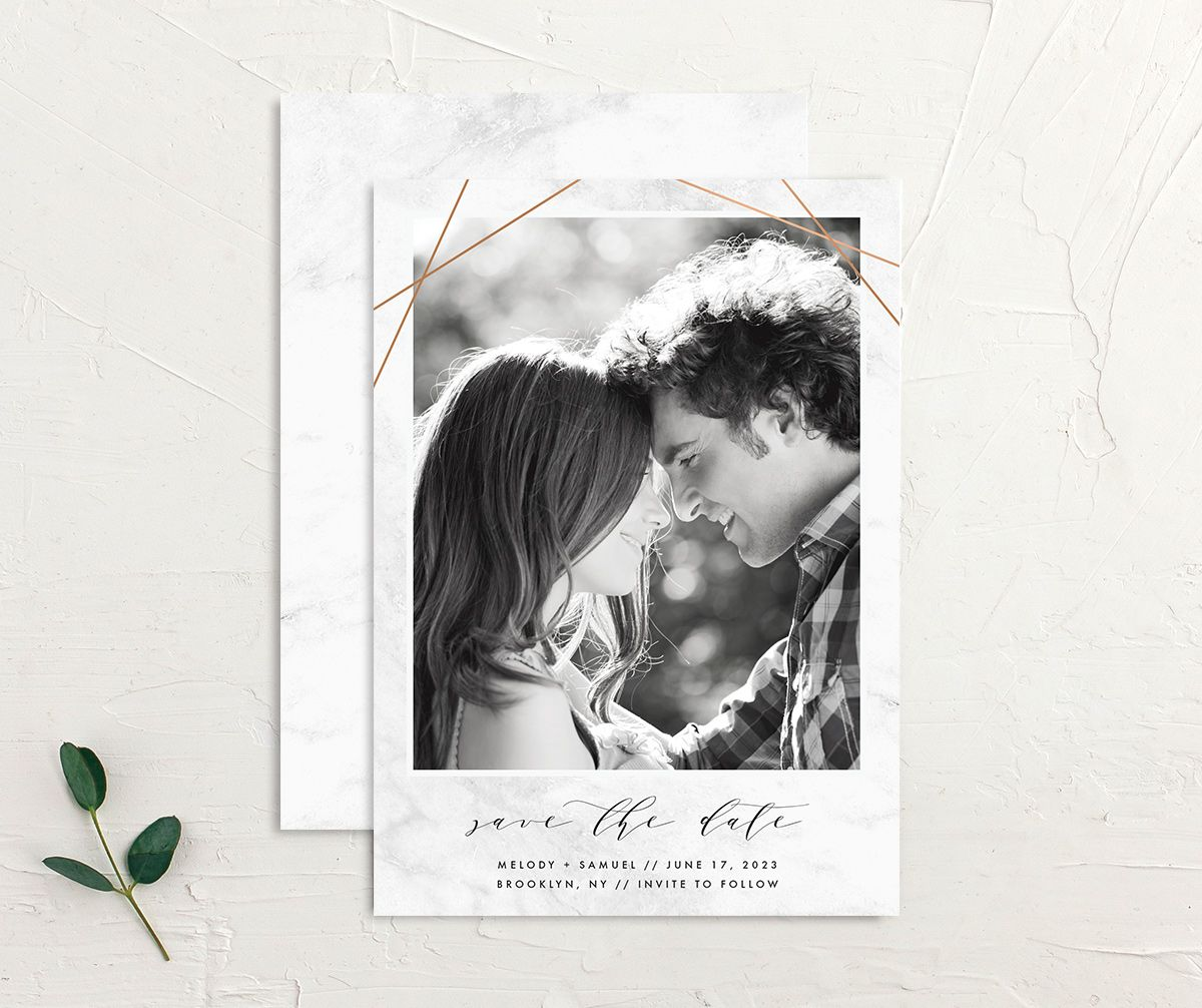 Geometric Marble Wedding Save the Date front and back