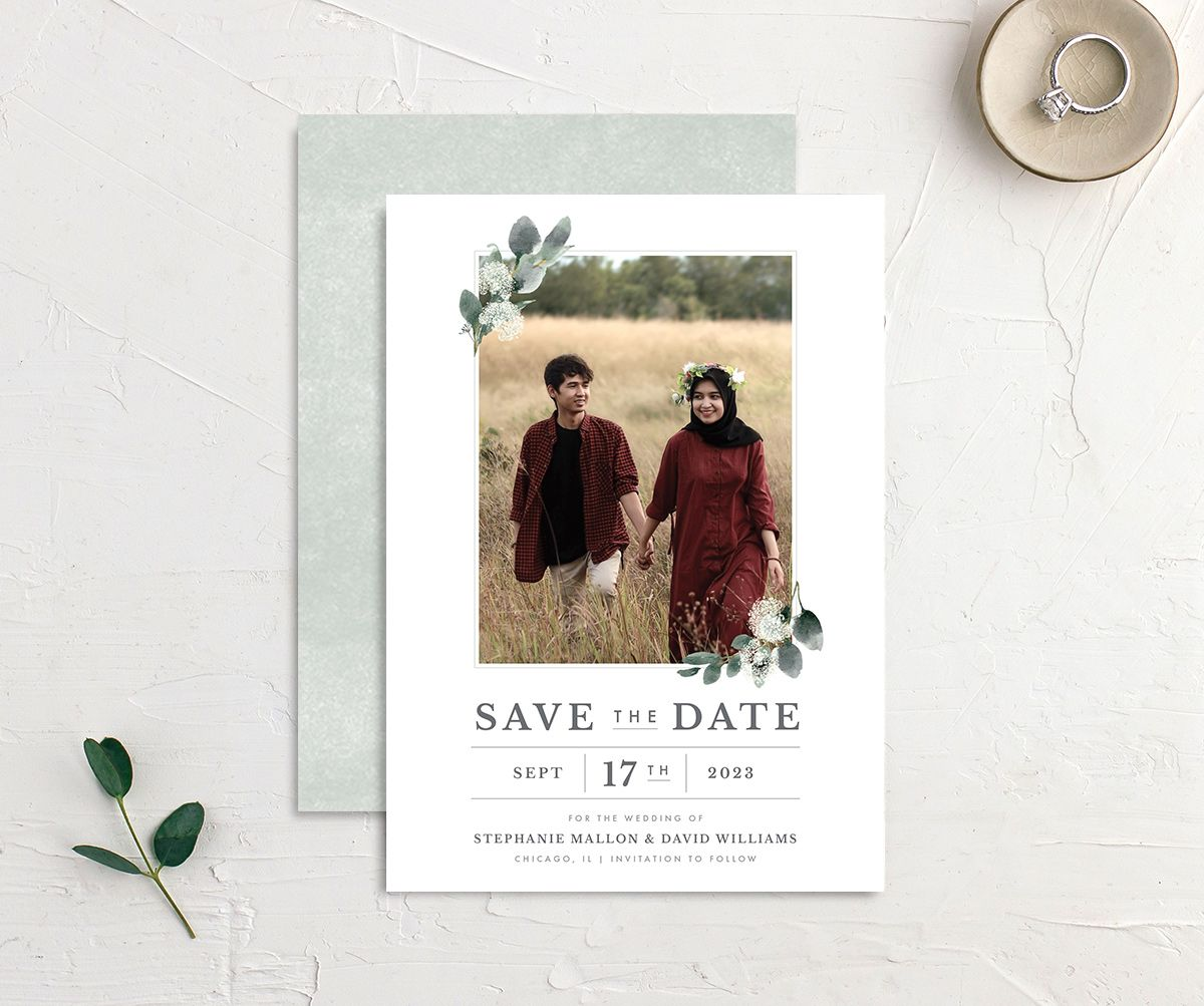 Greenery Branches save the date card front and back