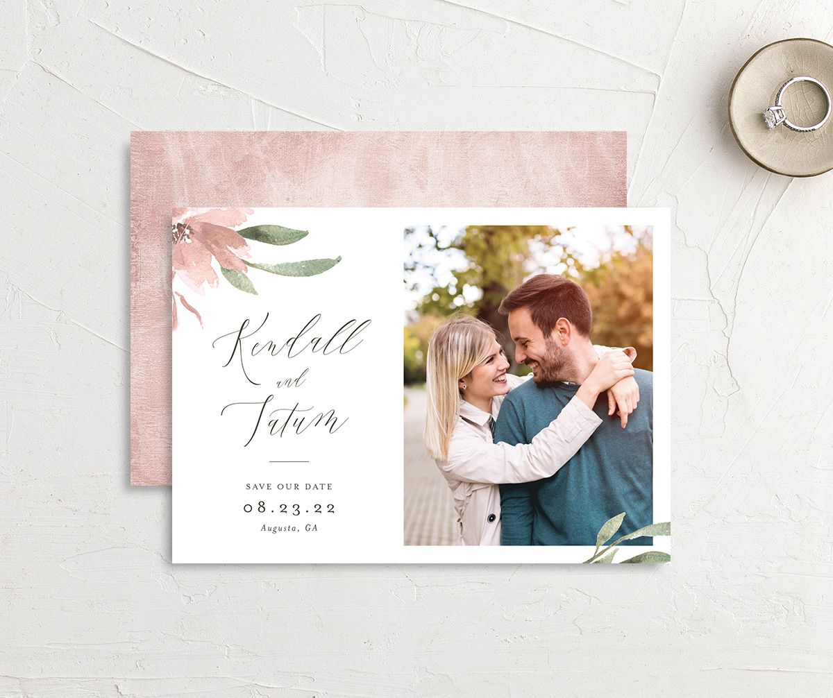 Muted Floral Wedding Save the Date Card front and back pink
