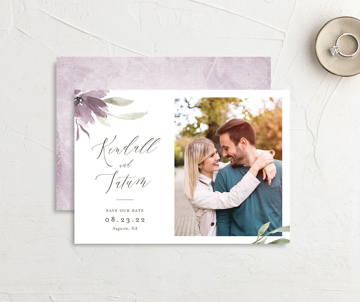 Muted Floral Wedding Save the Date Card front and back purple