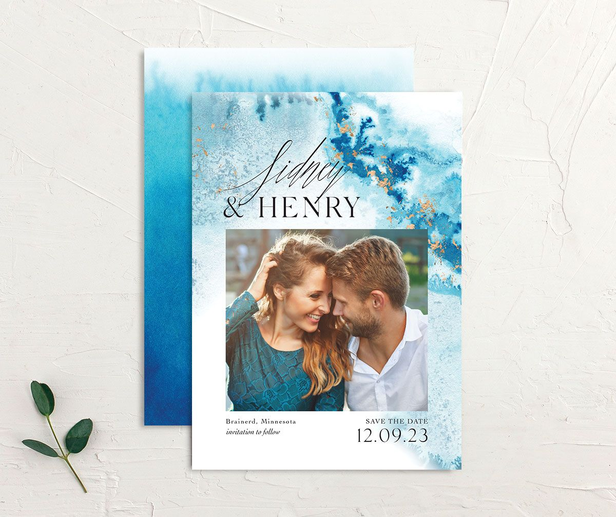 Painted Ethereal Wedding Save the Date front and back blue