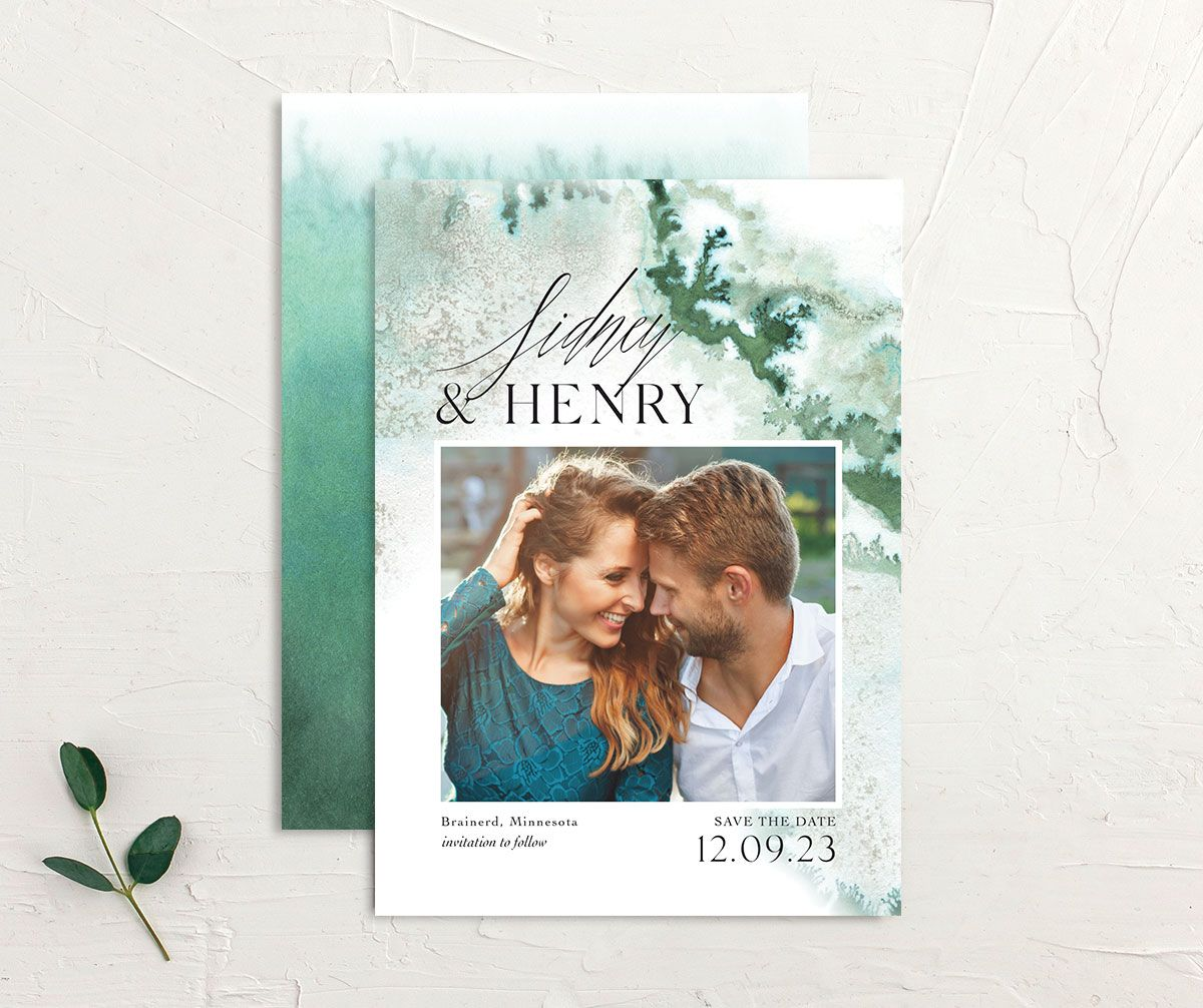 Painted Ethereal Wedding Save the Date front and back green
