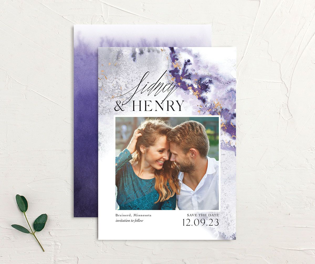Painted Ethereal Wedding Save the Date front and back purple