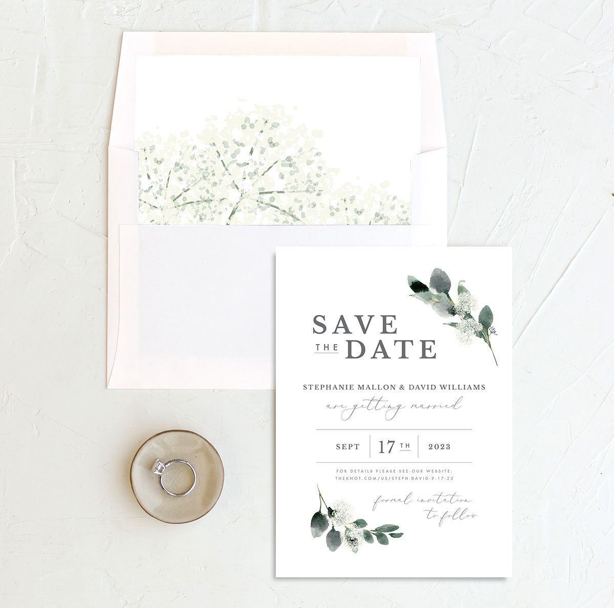 Elegant Greenery save the date with liner