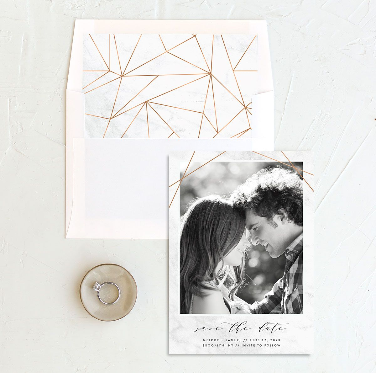 Geometric Marble Wedding Save the Date and Envelope Liner front
