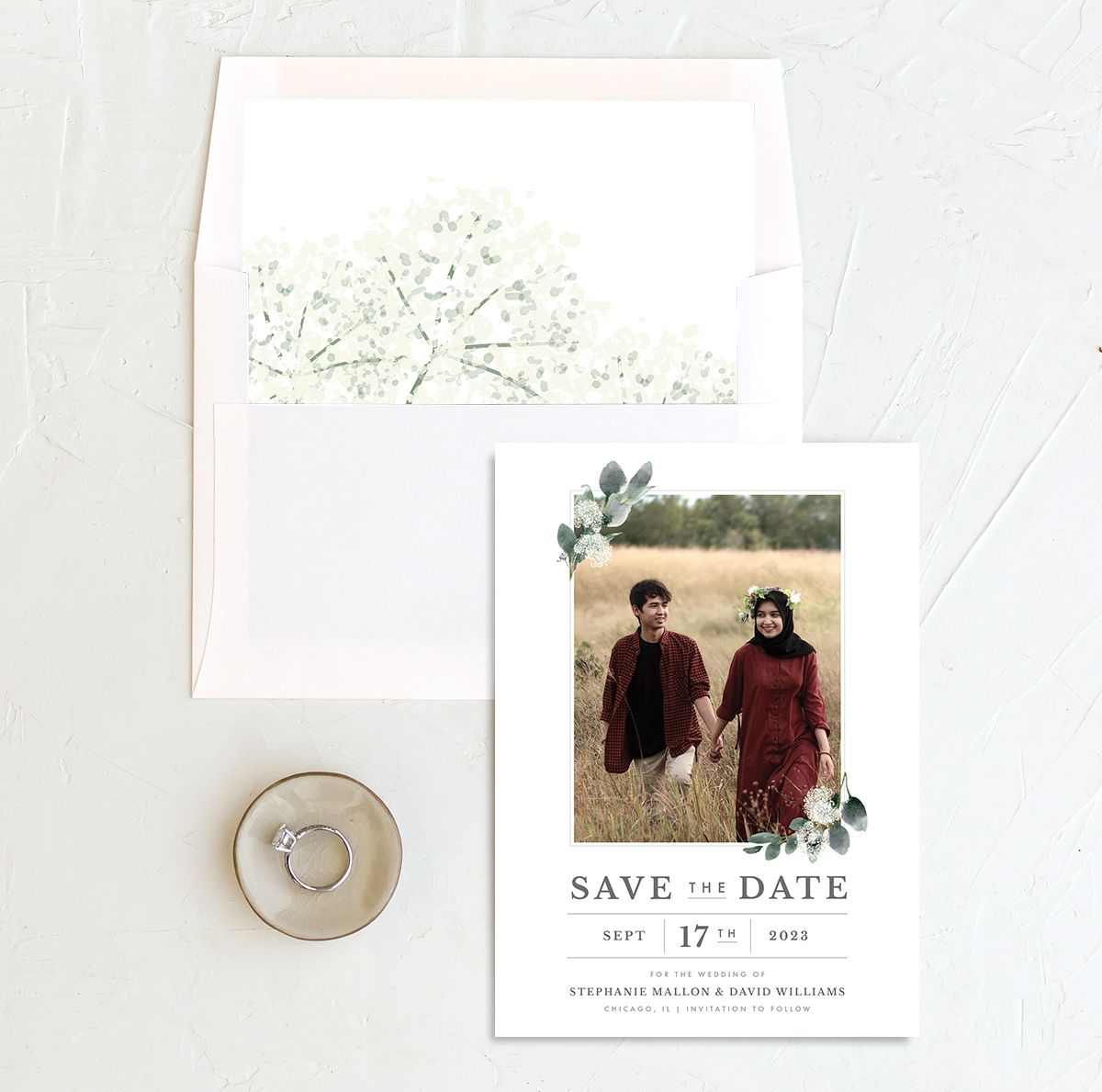 Greenery Branches save the date card and liner