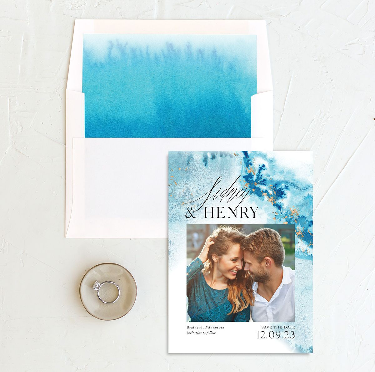 Painted Ethereal Wedding Save the Date and Envelope Liner blue