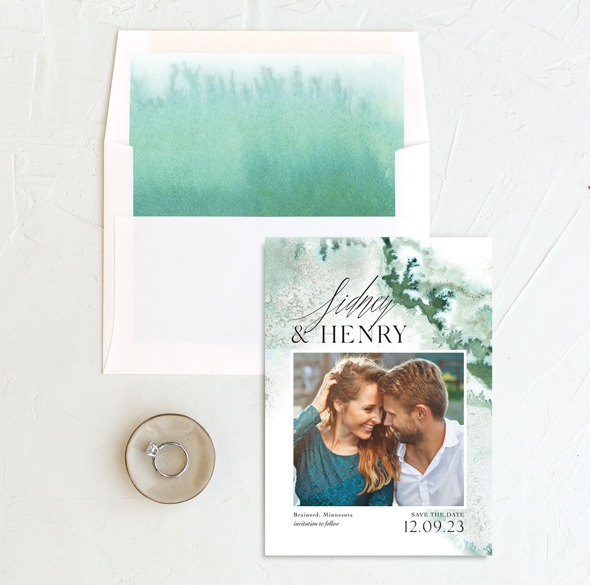 Painted Ethereal Wedding Save the Date and Envelope Liner green