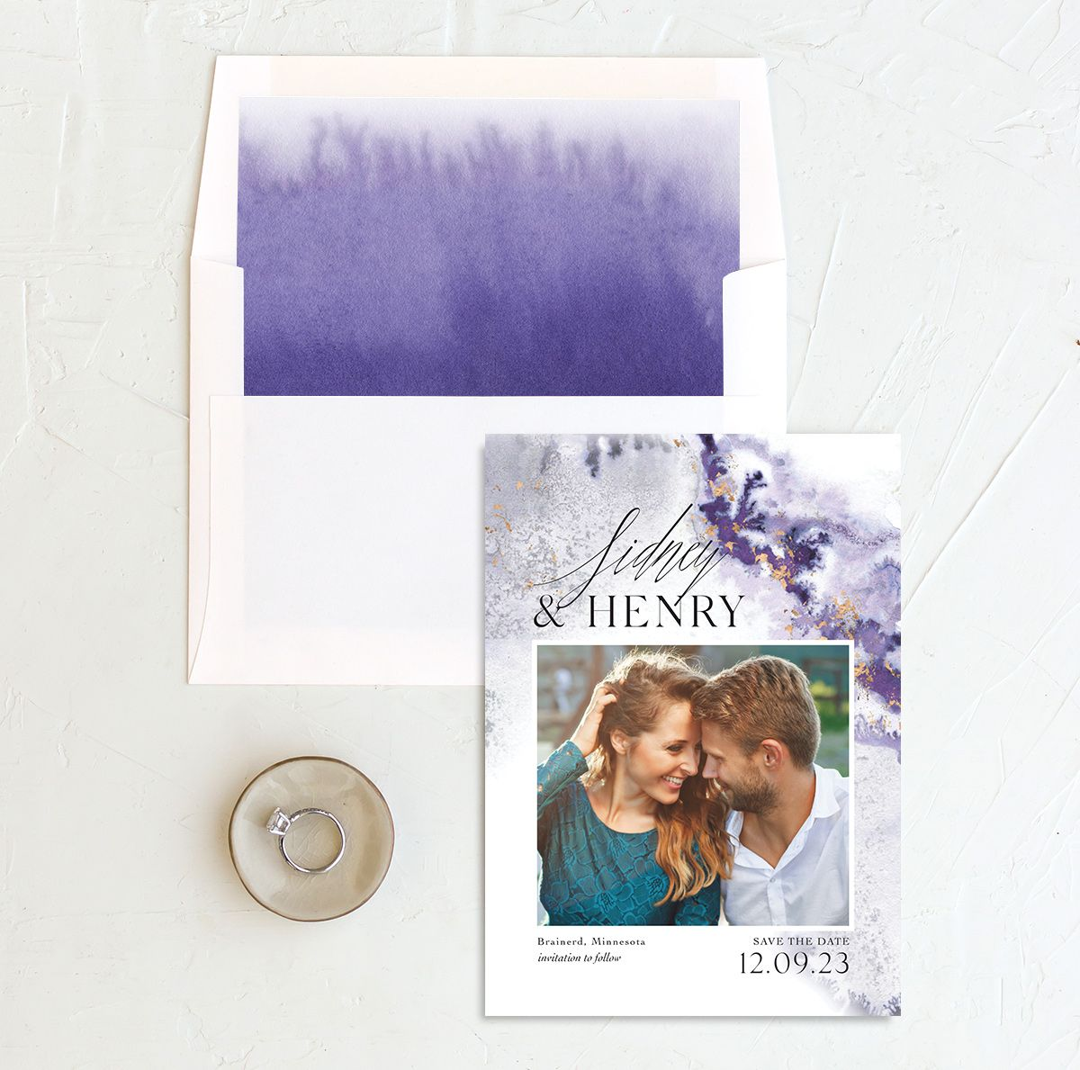 Painted Ethereal Wedding Save the Date and Envelope Liner purple