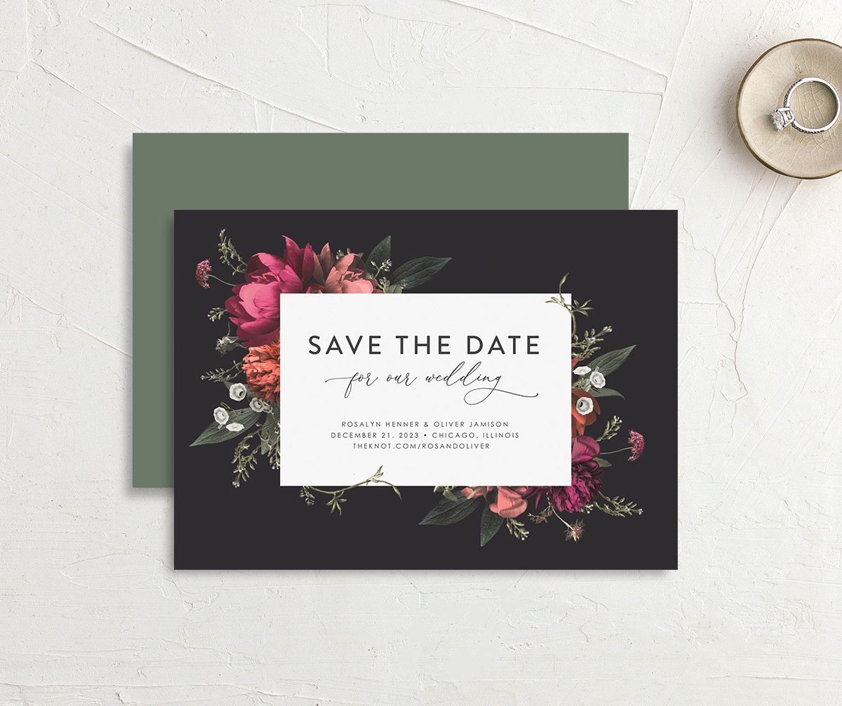 Blooming Botanical save the date card in black front & back