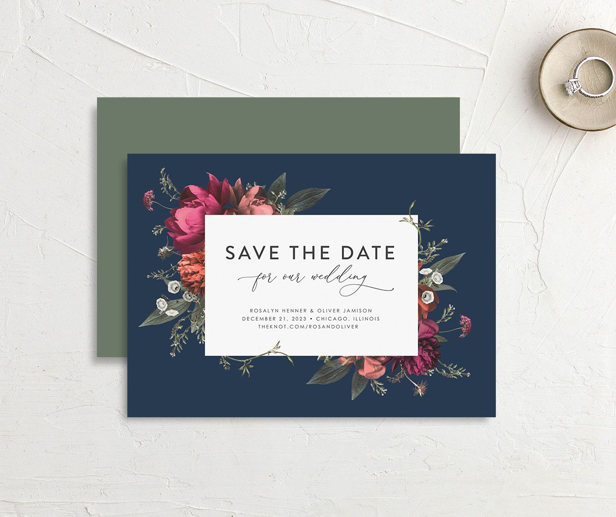 Blooming Botanical save the date card in navy front & back