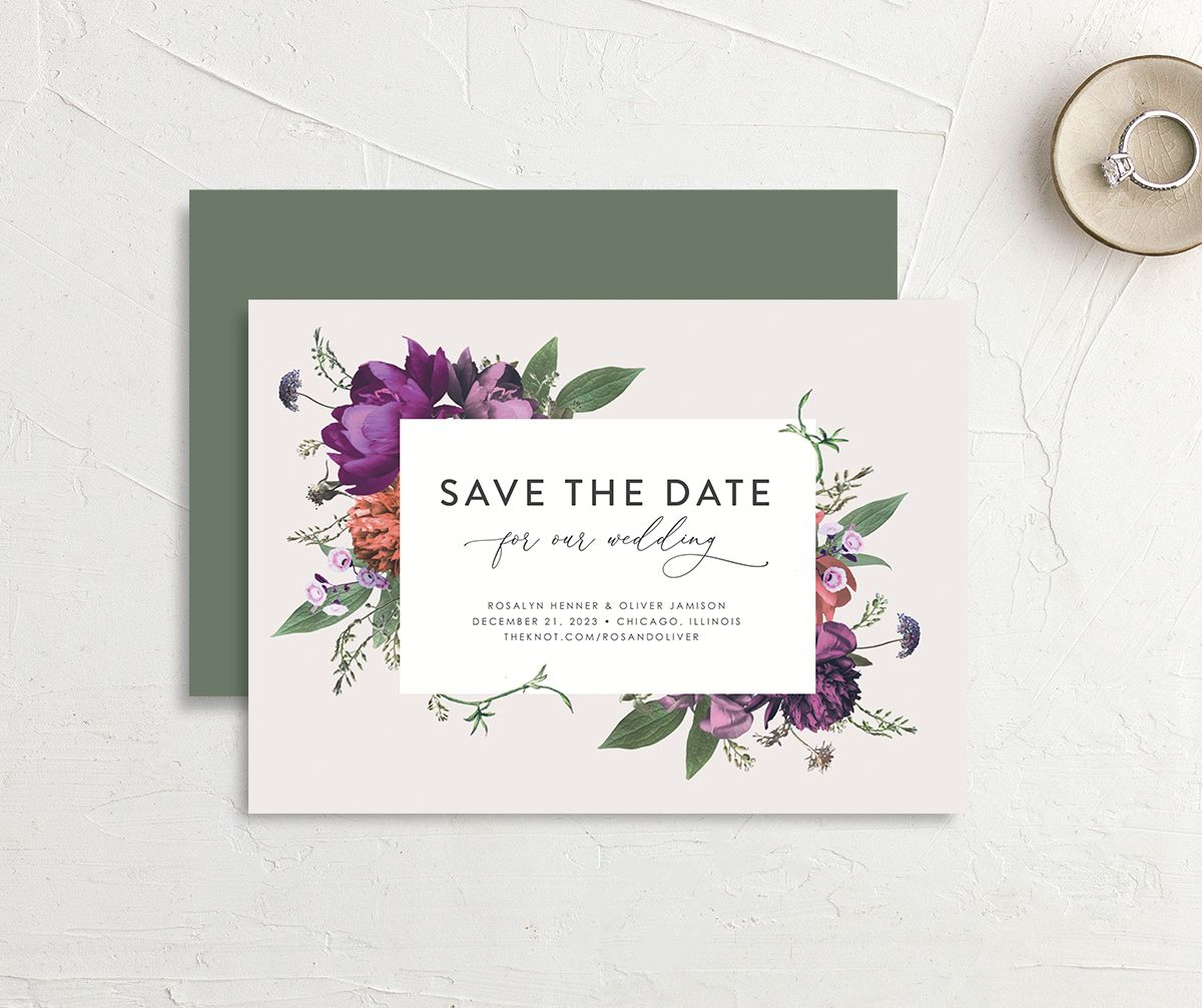 Blooming Botanical save the date card in purple front & back