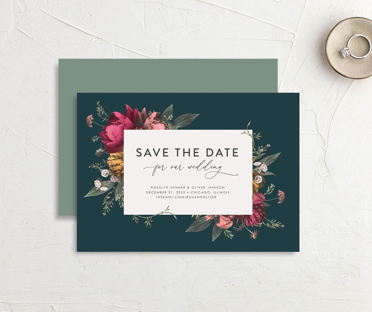 Blooming Botanical save the date card in teal front & back