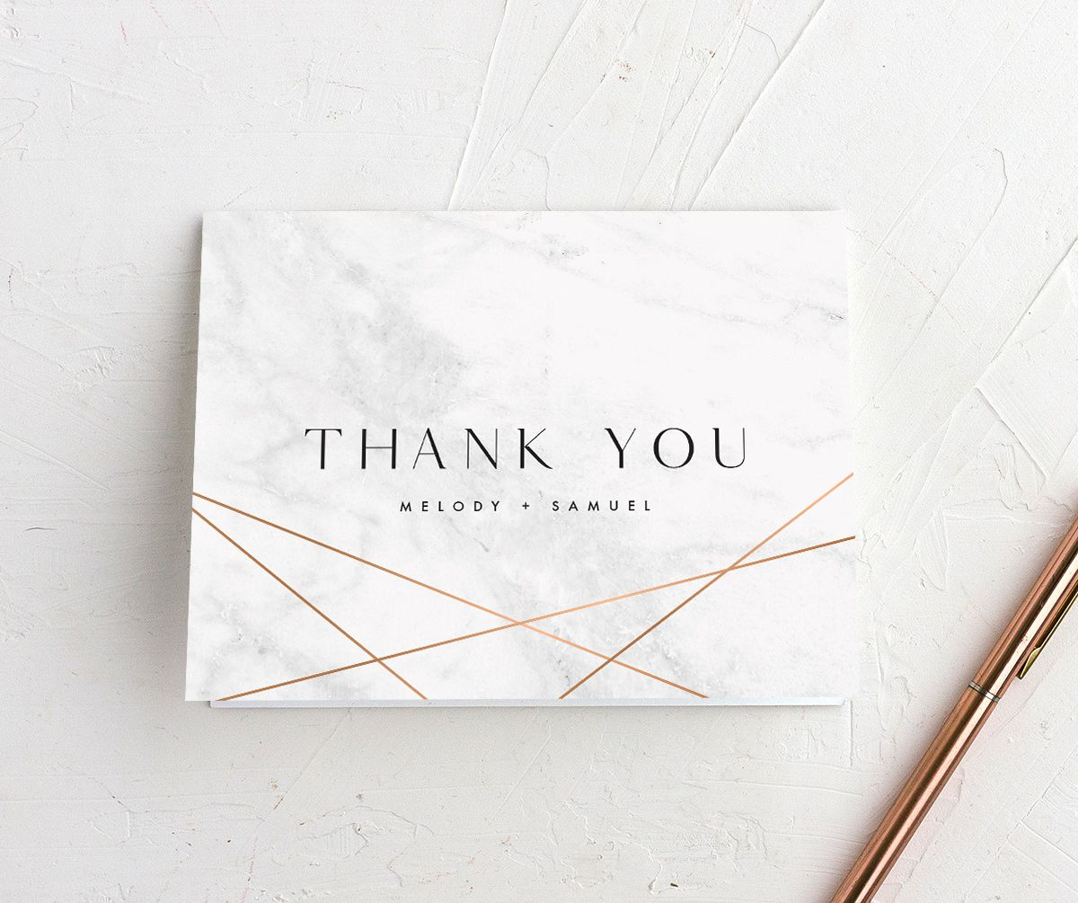 Geometric Marble Wedding Thank You card front