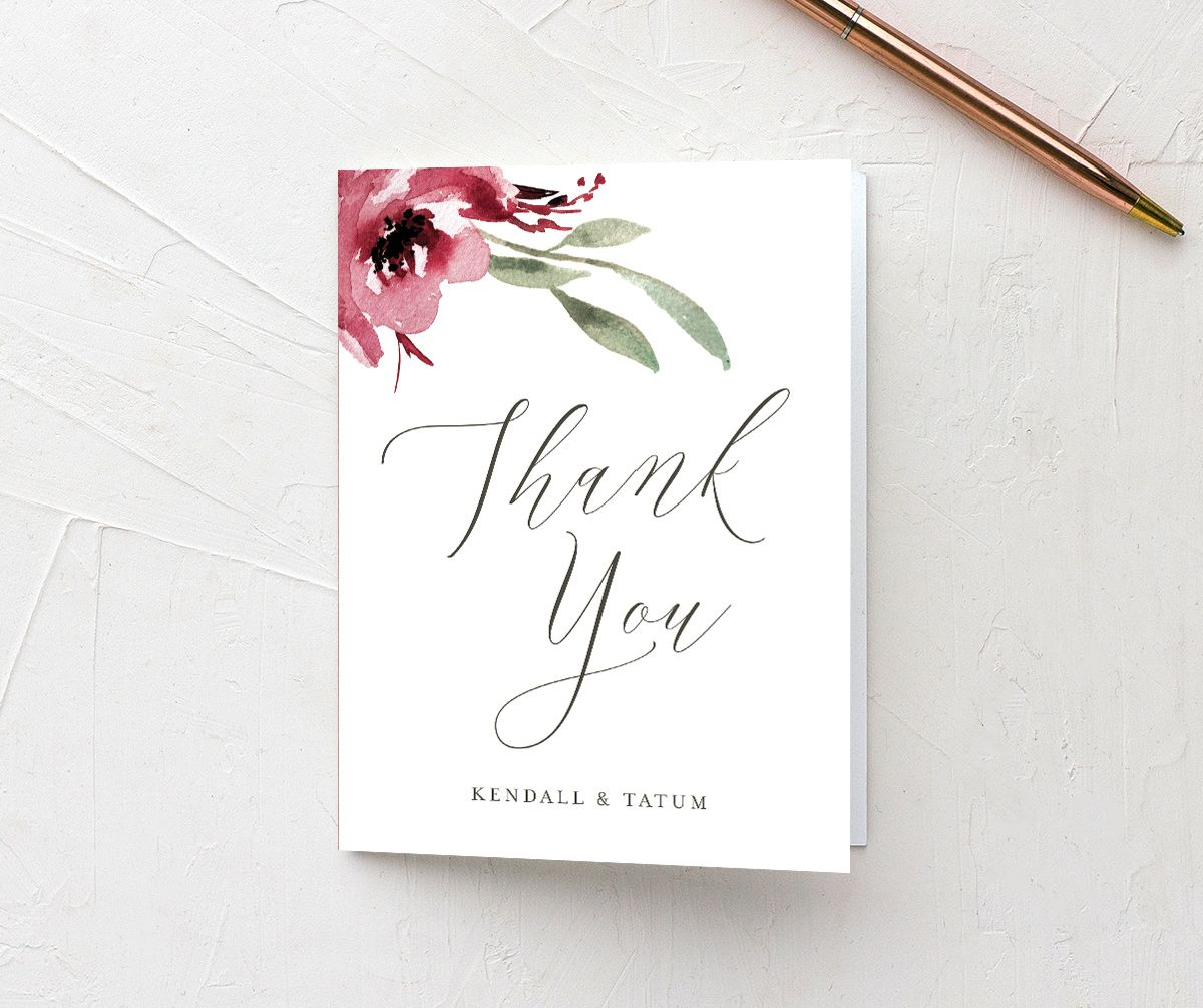 Muted Floral Wedding Thank You card front berry