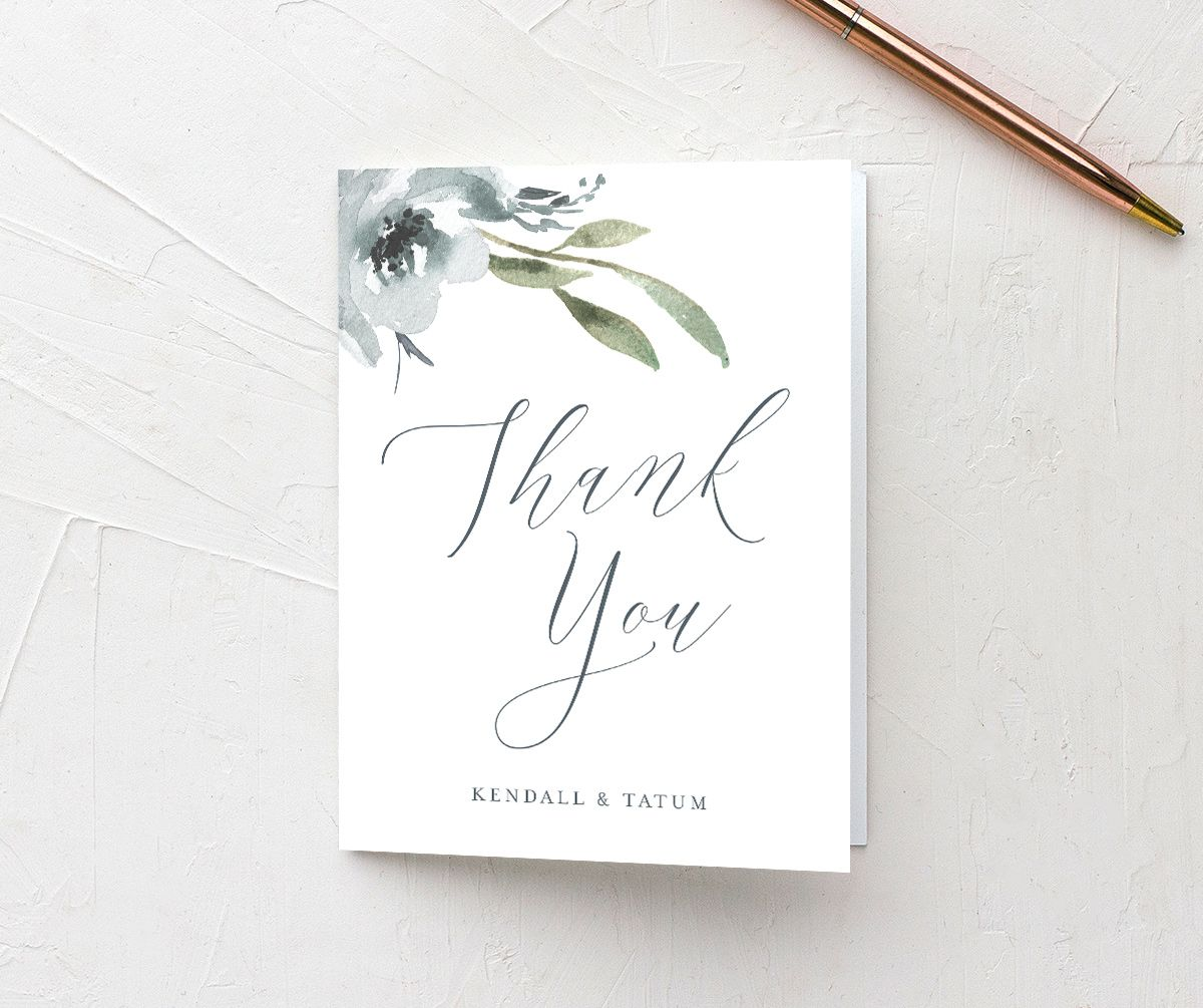 Muted Floral Wedding Thank You card front blue