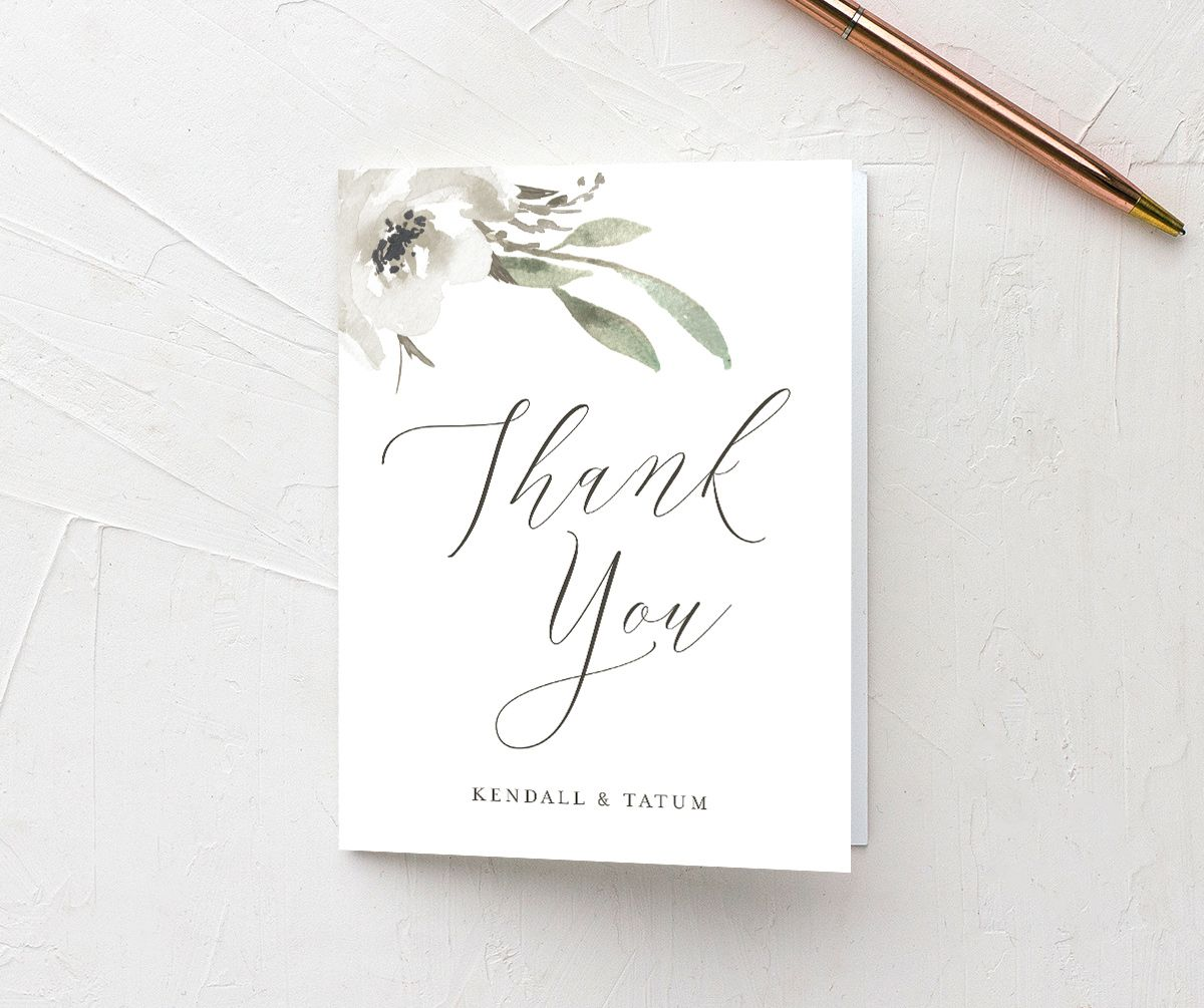 Muted Floral Wedding Thank You card front white
