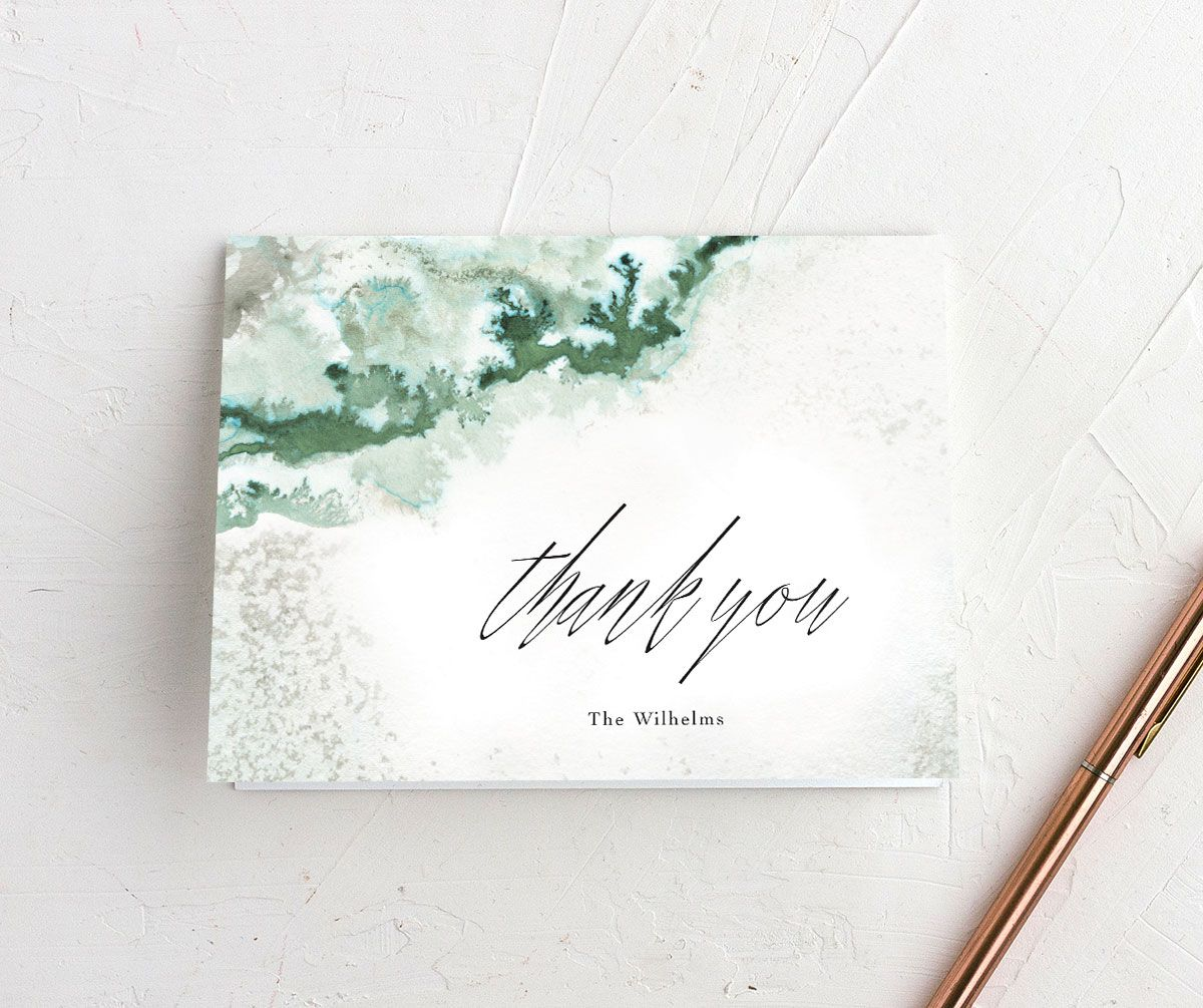 Painted Ethereal Thank You Card front green