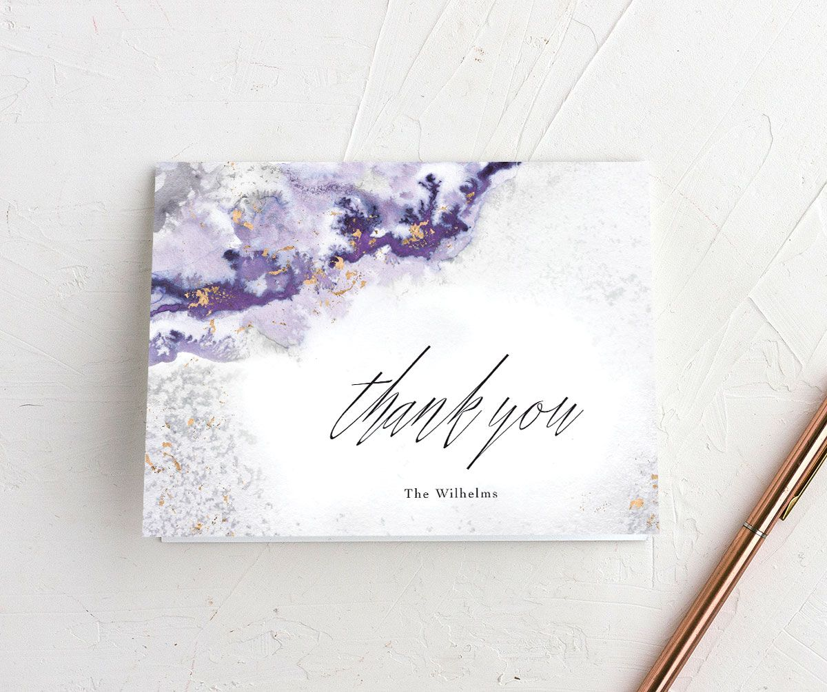 Painted Ethereal Thank You Card front purple
