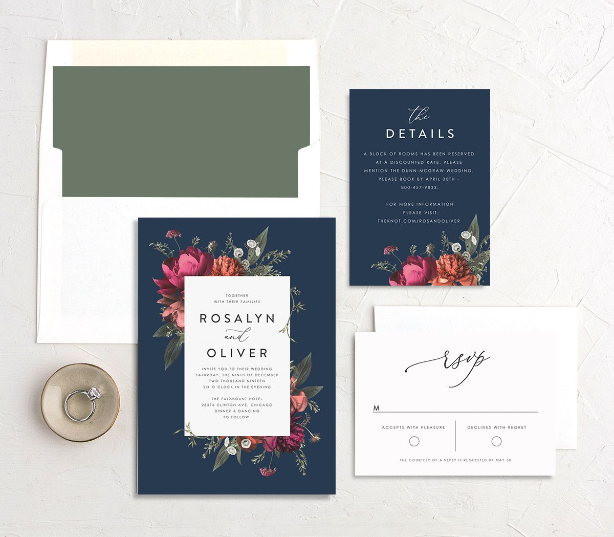 Blooming Botanical suite in navy