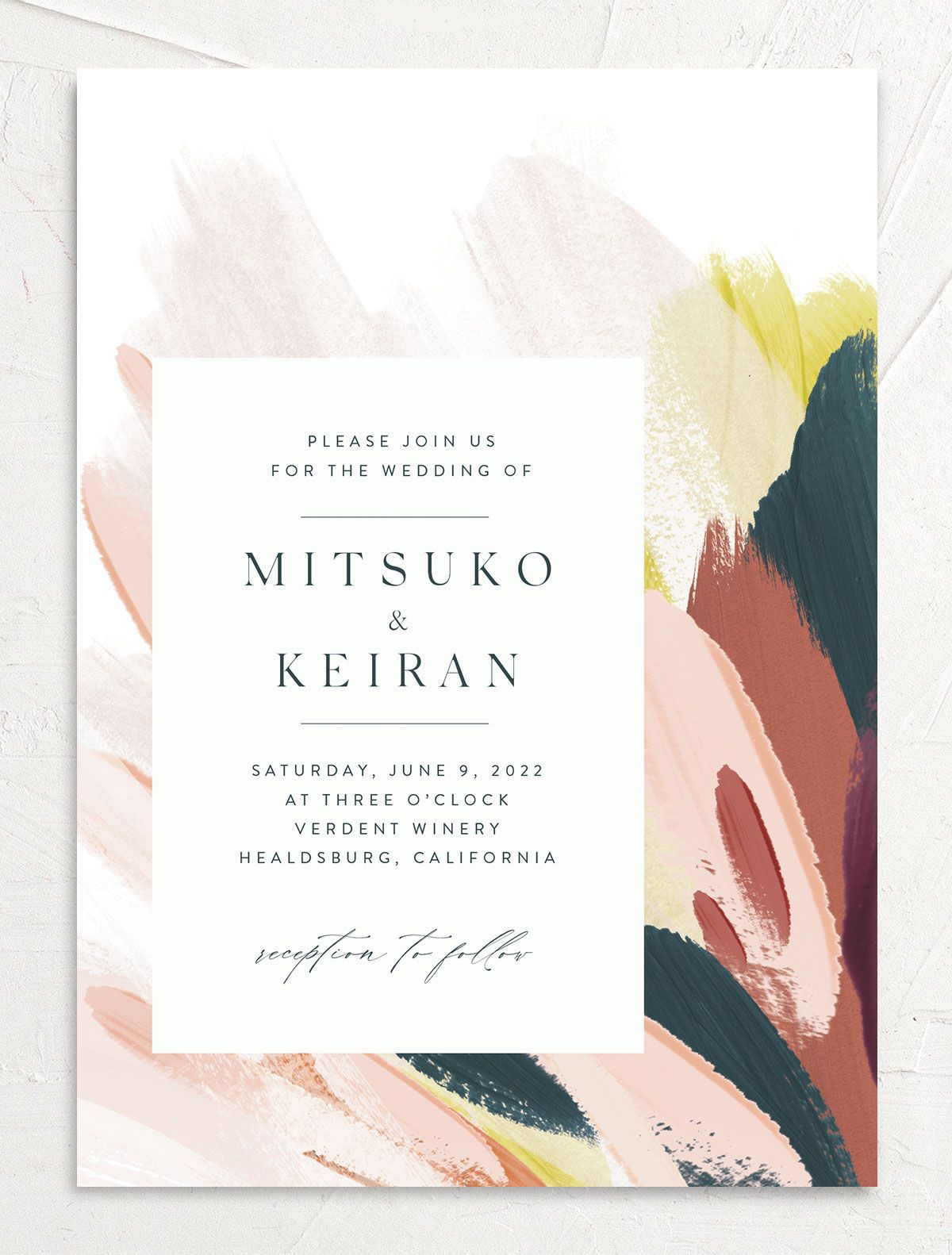 Floral Abstract Wedding Invitation front pink