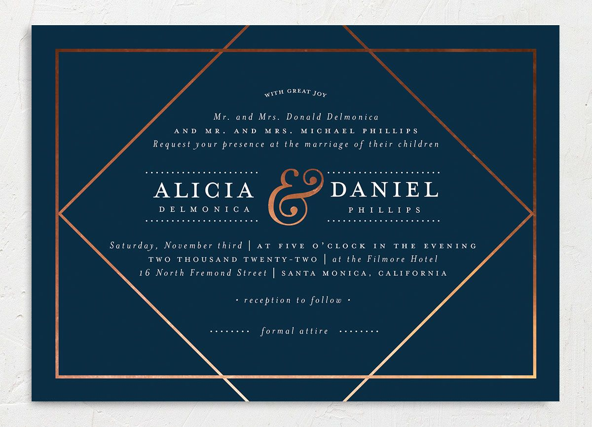 Formal Ampersand Wedding Invitation front blue