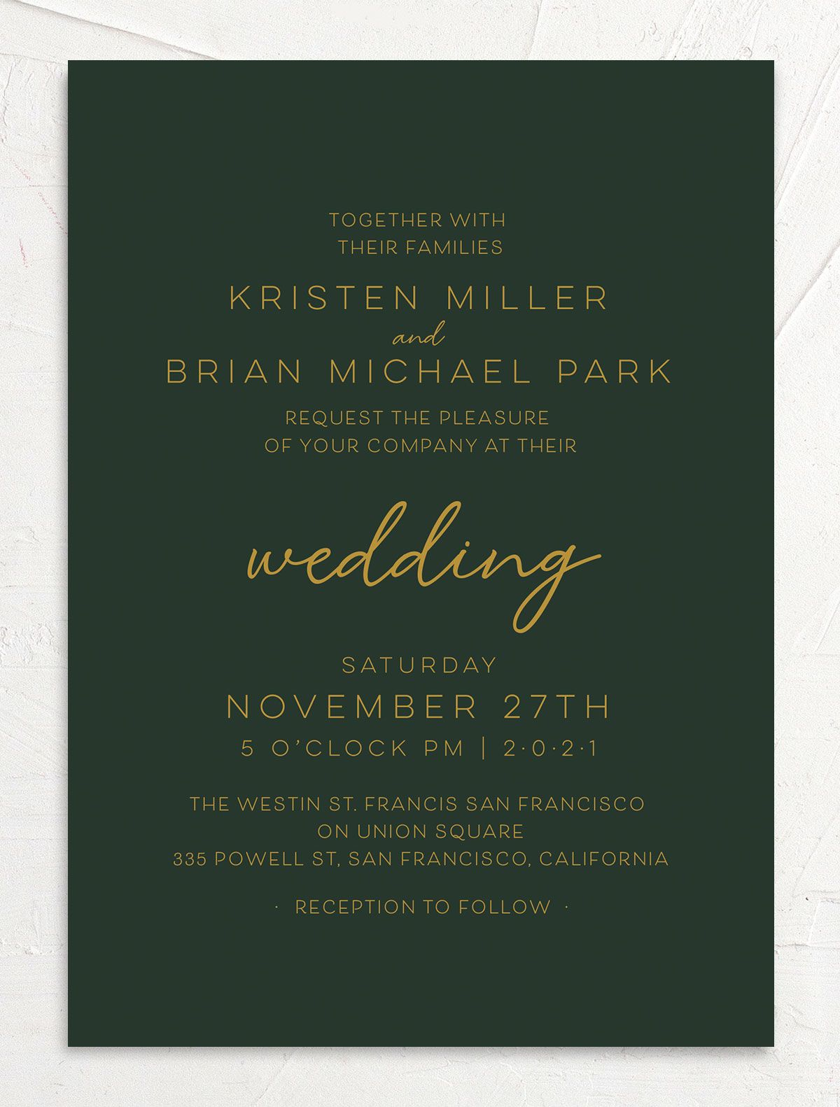 Gold Calligraphy Wedding Invitation front green
