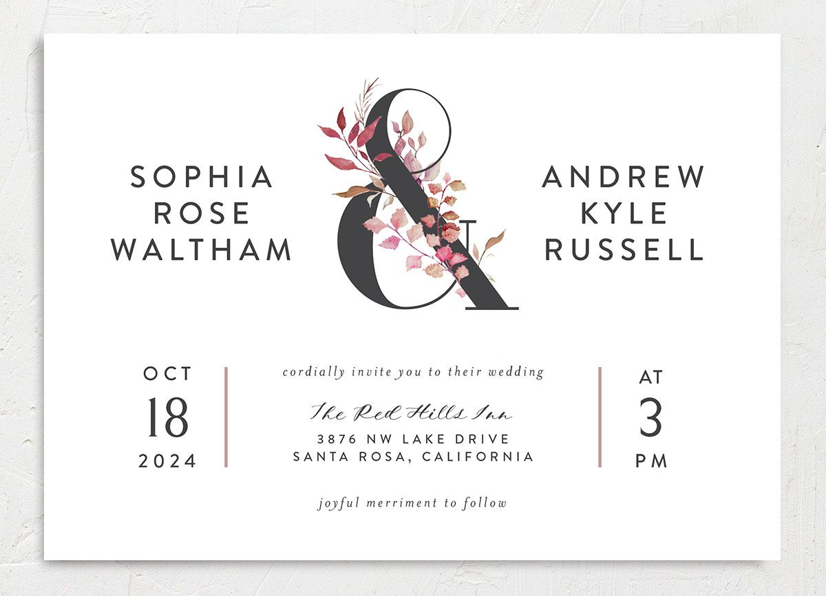 Leafy Ampersand wedding invite front merch purple