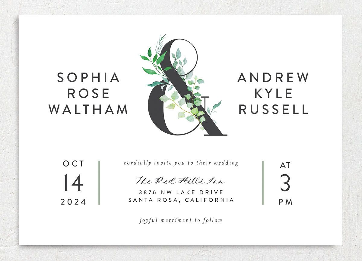 Leafy Ampersand wedding invite front merch green