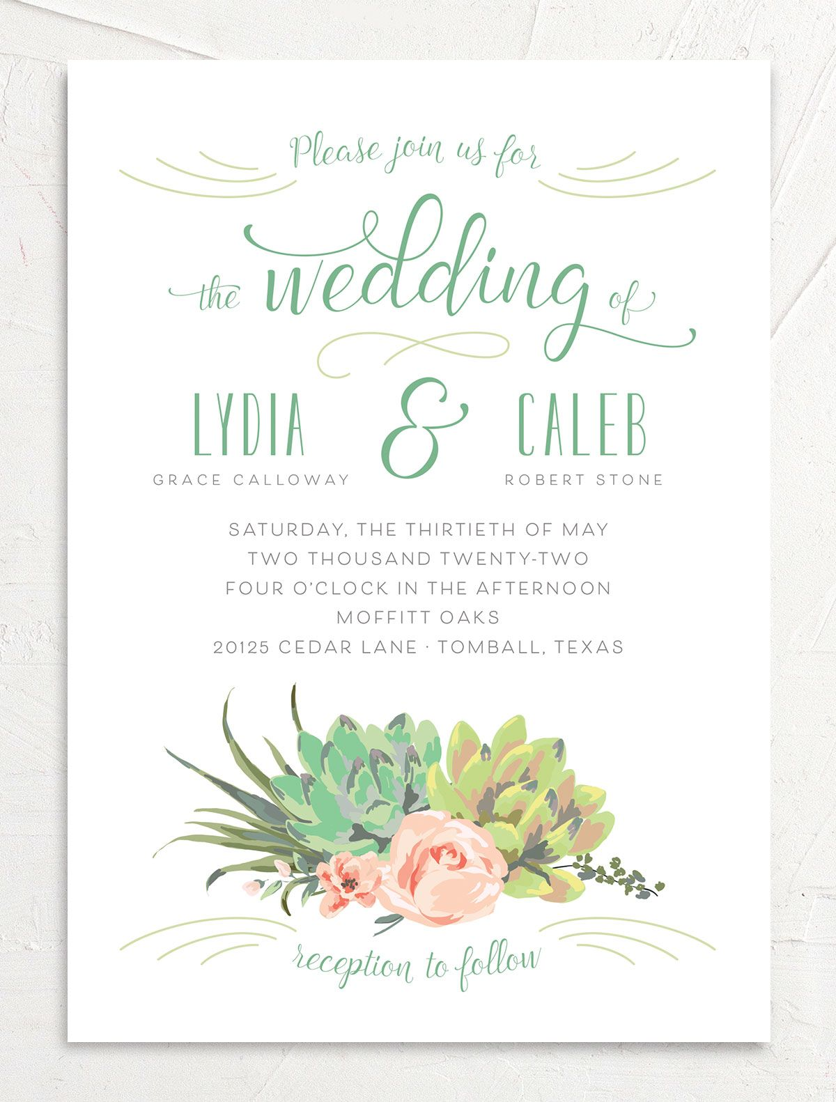 Romantic Succulents wedding invitation front green