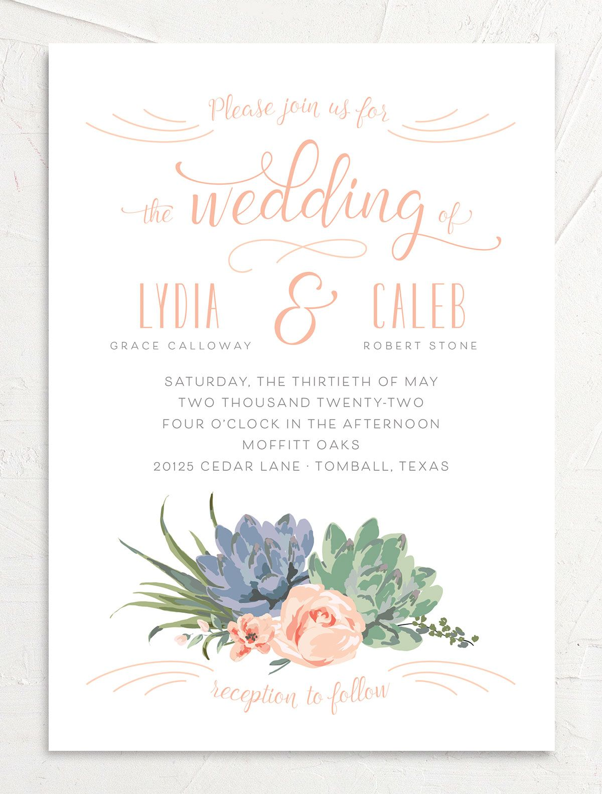 Romantic Succulents wedding invitation front pink