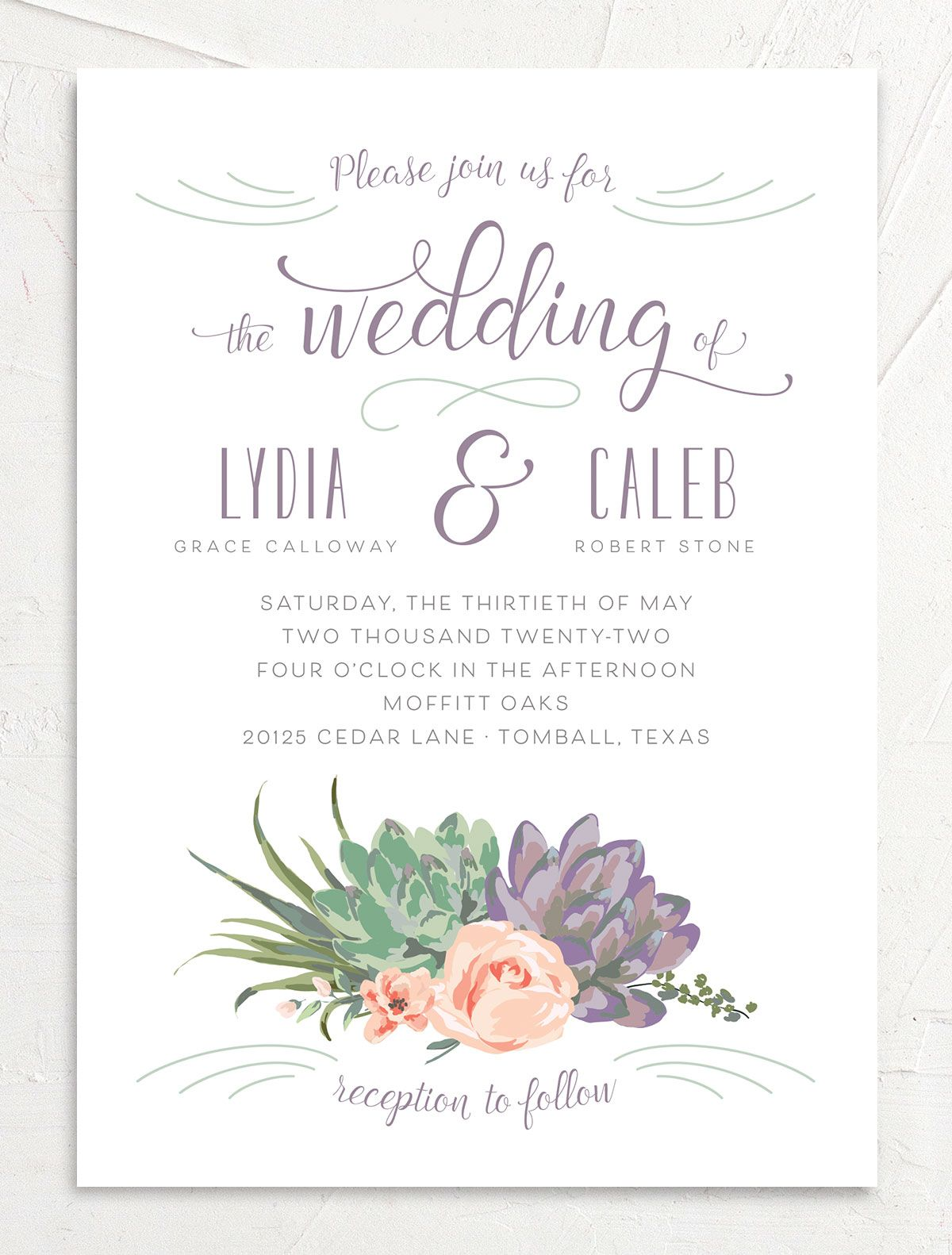 Romantic Succulents wedding invitation front purple
